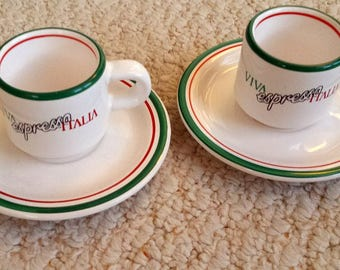 Expresso Cups and Saucers, Red and Green stripes on white cups, 4 pieces,