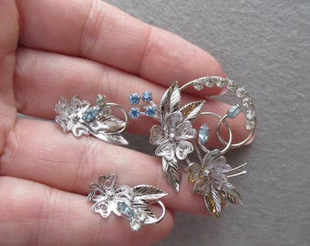 Vintage Signed Carl-Art Sterling Silver Filigree, Blue Rhinestone Flower Pin & Earrings Set
