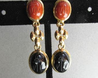 Vintage 1960's Long Dangle Gold Tone SCARAB Earrings