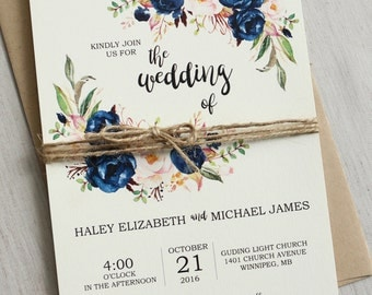 Rustic Navy Wedding Invitation Printable, Modern, Bohemian Wedding Invite Set, Rustic Floral Wedding Invitation, Boho Chic wedding, DIY