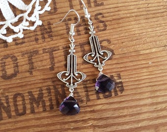 Purple Art Deco Earrings - silver earrings purple earrings sterling earrings drop earrings