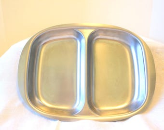 Mid Century Stainless Steel Divided Serving Dish Scandinavian Cultura