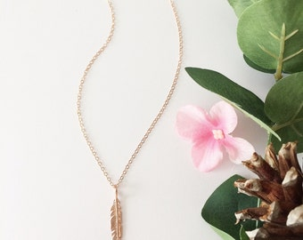 Feather necklace, rose gold  necklace, nature jewelry, dainty necklace, Christian necklace, angel necklace, angel wings, Psalm 91:4