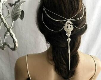 Bridal Head Chain, Hair Accessory, Bohemian Hair Jewelry, Chain Hair Accessory, Bridal Hair Chain