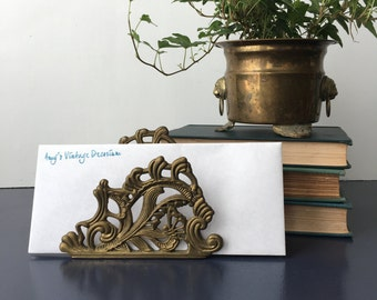 vintage brass ornate letter holder napkin holder 80s desk accessory