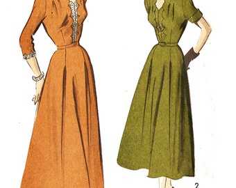 Advance 5352 Misses' Vintage 1940s Dress with Scallop Detail Sewing Pattern