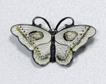 Hans Myhre Butterfly, Guilloche Enamel Butterfly, Vintage Hans Myhre Norway Sterling Silver Guilloche Enamel Butterfly Brooch Pin Anchor