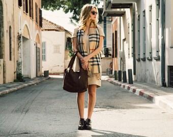 Brown Leather Bag, Walnut Brown Leather Shoulder Bag, Large Leather Bag,  Zipper Bag, Soft Leather Handbag, Woman Leather Bag - SHIRI Bag