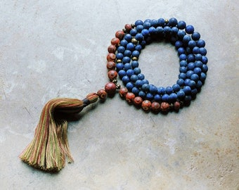 Beautiful frosted lapis lazuli / Tibetan style agate gemstone mala necklace