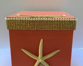 Beach Theme Wedding Bling Wedding Card Box Bling Mesh Ribbon Money Holder Advice Box Baby Shower Sweet Sixteen Aqua Blue Coral