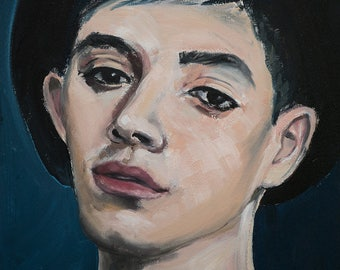 Original Oil Painting On 41cm x 31cm Paper Portrait Of A Young Man With A Black Hat