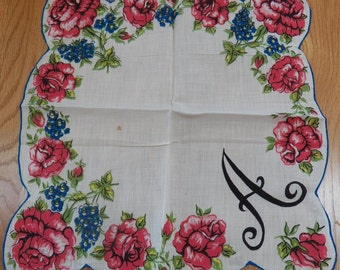 Beautiful Vintage Hanky Monogram Inital A Roses Floral Red Pink Blue Scalloped Edge