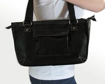 Handmade Modern Black Leather Purse, Fully Lined, Leather Shoulder Bag, Leather Handbag, Upcycled Leather Bag  Ecofriendly bag