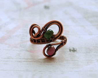 Tourmaline Ring Copper Wire Wrap Adjustable Ring Tourmaline Jewelry Gift Anniversary Copper Ring October birthstone Colorful Unusual Ring