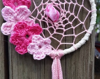 Crochet  Dream Catcher Mandala Dhamma Wheel Rear Window or Wall Hanging with Crochet Flowers Boho Hippie Small 3""