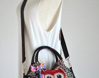 Vintage Hippie Style Handbag Owl Crossbody Bag Boho Hobo Bag Shoulder Bag Sling Messenger Bag Chic Purse, Hooty Hoot