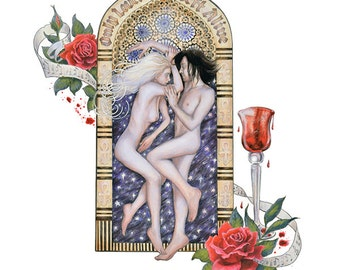Gothic Valentine Romantic Art Nouveau Tattoo Fine Art Only Lovers Left Alive Vampires Illustration Print 8x10 or 8.5x11 Inches