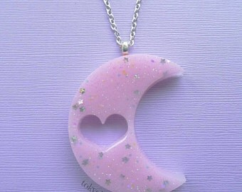 Pastel Pink Moon Necklace- Creepy Kei- Fairy Kei- Creepy Cute- Sweet Gothic Lolita-Kawaii