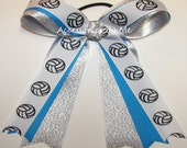 Volleyball Bow, Girls Team Hair Tie Elastic, Blue Silver Grosgrain Ribbons Accessories, Custom Color, Free US Ship, Cheap Bundle Lot of Bows