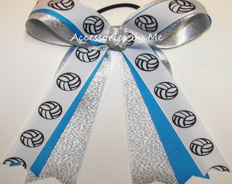 Volleyball Bow, Volley Team Hair Ties Elastic, Volley Ball Blue Silver Grosgrain Ribbons, Custom Color Volleyball Bow, Cheap Volleyball Bows