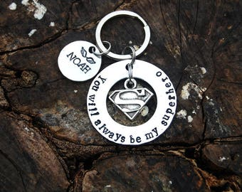 Superhero Memorial Keychain, Super Mom Memorial Keychain, Sympathy Gift, Batman Superman Captain America Flash Thor Super Hero