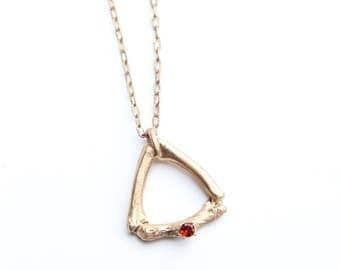 Bronze Garnet Bone Triangle Pendant Necklace ~ Bone Jewelry ~ Gothic Jewelry ~ Taxidermy ~ Memento Mori ~ Witchy ~ Geometric Bone Necklace