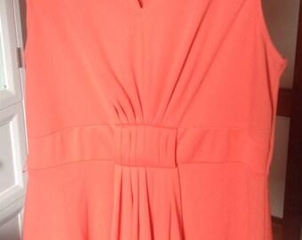 Retro Tangerine Orange Sleeveless A-Line Vintage Dress with Pleated Front Full Skirt