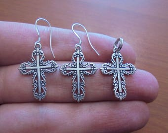 Beautiful NAVAJO Sterling Silver Ornate Cross Pendant and Earrings JEWELRY SET Native American Signed G&S 1995 - Faith, Hope Nice Size thick