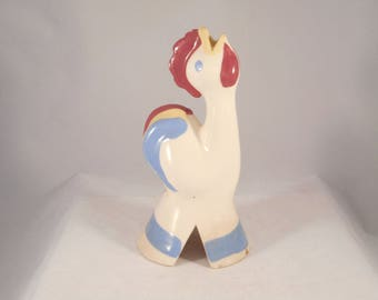 "Vintage Pie Bird Rooster ""Patrick"" or ""Ralphie"" Made by Cleminsons of California - Maroon YellowBlue"