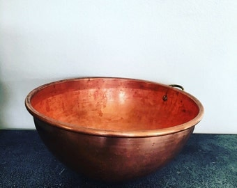 Vintage Copper Mixing Bowl - Large Copper Whisking Bowl - 10 1/2 Inch Copper Bowl - Copper Bowl