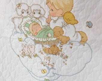 vintage PRECIOUS MOMENTS Baby Quilt stamped cross stitch finished