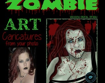 ZOMBIE Caricature Digital Drawing from your Photo Commissioned Art Custom Portraits commission drawing illustration Rocker Girl Heavy Metal