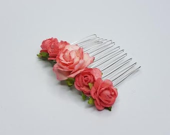 Bridal Hair Comb, Coral Hair Comb, Floral Hair Comb, Coral Headpiece, Bridal Hair Accessories, Flower Hair Comb.