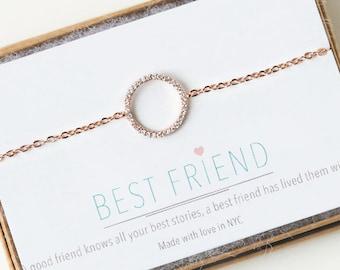 Dainty Rose Gold Circle Bracelet, Minimalist Rose Gold Circle Bracelet, Bracelet For Her, Friendship Bracelet, Best Friend Gift,  B162