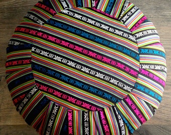 Zafu Style Meditation/Floor Cushion - Bhutanese Fabric - Pouf - Ottoman