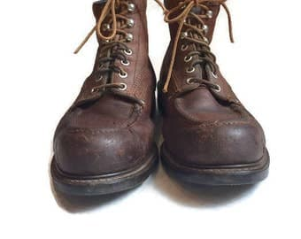 Vintage Leather Boots Ankle Boots Menu0027s Hiking Chukka Thrashed Worn In  Distressed Brown Leather Work Rugged