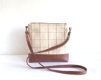 Crossbody leather bag, Messanger bag, Geometric print tote bag, Plaid bag purse, Detachable cross body strap, Vegan leather bag, Brown bag