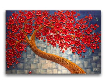 Impasto painting, red tree painting, original abstract painting, large canvas wall art, textured art, palette knife painting