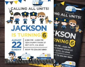 Police Invitation, Police Birthday Invitation, Police Birthday Party, DIGITAL, 2 Options