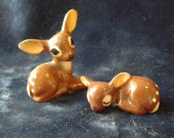 Vintage Ceramic Fawn Deer Figurine Set