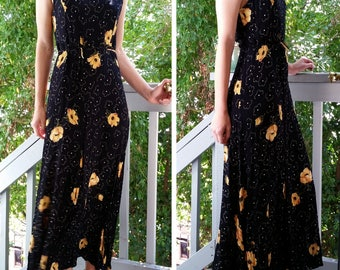 Black Yellow and White Poppy Floral Long Tank Dress - Large
