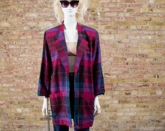 christian dior blazer / oversized blazer / wool blazer / plaid wool jacket / boyfriend blazer / dior blazer / slouchy blazer / boxy jacket