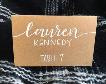 Handwritten wedding place cards / hand lettered escort cards / modern calligraphy - customizable!