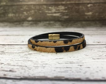 Leather Cuff Bracelet - Double Wrap - Skinny - Leopard Print - Italian Leather - Hair On Leather -Magnetic Clasp