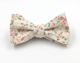 Blush Bow Tie, Mens Ivory and Blush Pink Floral Bowtie, Blush Wedding Ties, Blush Pink, Pale Pink Bowtie - Traditional Self-Tie or Pre-Tied