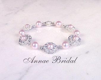 "Bridal jewelry, wedding, Blush pink pearl and rhinestone bracelet, Swarovski, silver ""Pearls & Lace"" bracelet"