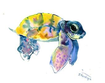 blue Yellow Sea Turtle Original Watercolor Artwork/ Underwater Scene Animal Illustration/ One of a Kind Beach Tortoise Guest Room Art