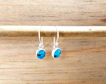 Silver Turquoise Earrings, Dainty Earrings, Blue Earrings, Oval Stone Earrings, Small Earrings, Fish Hook Earrings, Bezel Set Earrings