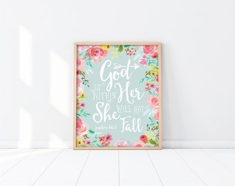 PRINTABLE Wall Art - Bible verse - Baptism Gift - Mint green - Pink - Inspirational Nursery - Baby Shower Gift - Scripture - SKU#2207