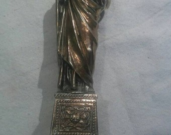 Vintage Christ Sacred Heart Statue Jesus Beautiful golden silver detail distressed Substantial Heavy